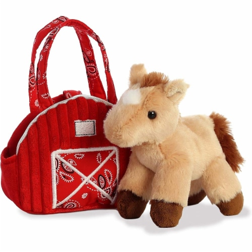 """Aurora 7"""" Red Barn Pet Carrier Plush Toy,  Fancy Pals Horse Perspective: back"""