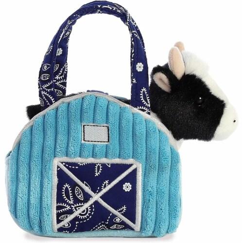 """Aurora 7"""" Aqua Blue Barn Pet Carrier Plush Toy,  Fancy Pals Cow Perspective: back"""