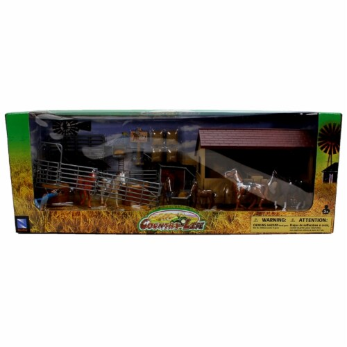 Country Life Horse Stable Rancher Corral with Accessories NewRay 1:32 Scale Perspective: back