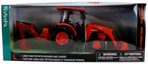 B/O 1:18 Kubota Farm Tractor W/Loader And Backhoe(L&S) Perspective: back