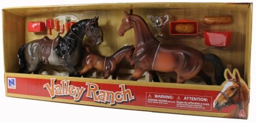 Valley Ranch 3 Horse Assortment (Grey and Brown) With Fence and Accessories Perspective: back