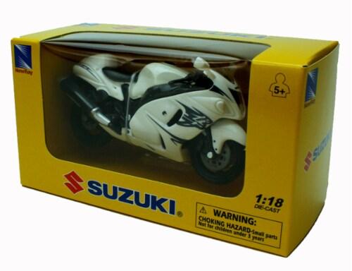 1:18 Scale Die-Cast Motorcycle - White Suzuki GSX 1300R Perspective: back
