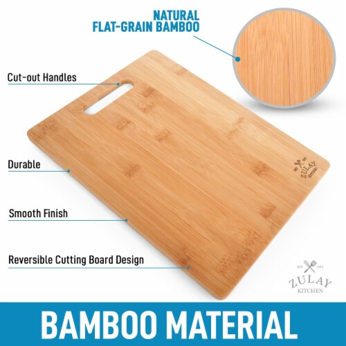 Bamboo Wooden Cutting Boards For Kitchen Premium 3 Assorted Sizes Wood Cooking Serving Perspective: back