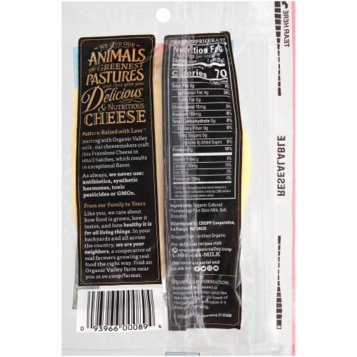 Organic Valley® Organic Provolone Cheese Slices Perspective: back