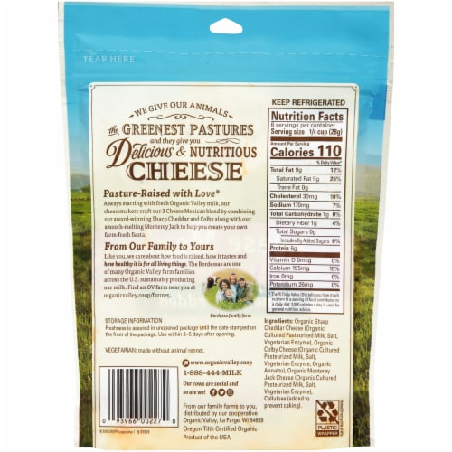 Organic Valley Mexican Blend Shredded Cheese Perspective: back