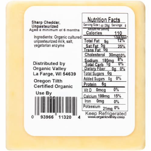 Organic Valley Raw Sharp Cheddar Cheese Perspective: back