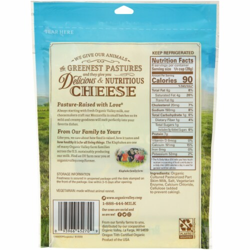 Organic Valley Finely Shredded Mozzarella Cheese Perspective: back