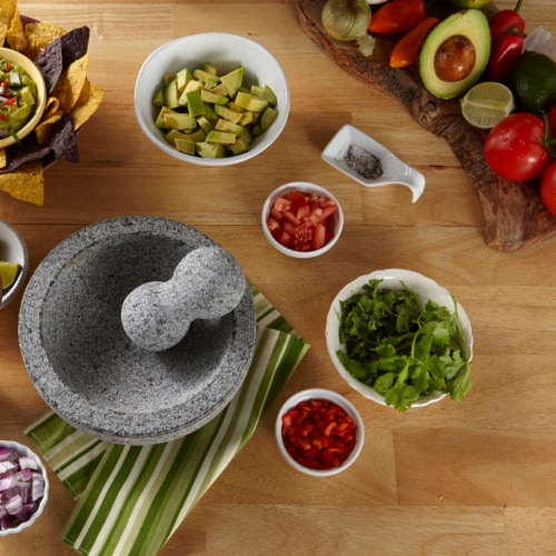 IMUSA Granite Molcajete Mexican Mortar and Pestle - Gray Perspective: back
