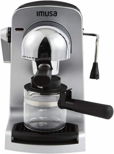 IMUSA Bistro Electric Espresso & Cappuccino Maker with Carafe - Silver Perspective: back
