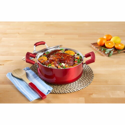 IMUSA Dutch Oven with Glass Lid - Ruby Red Perspective: back