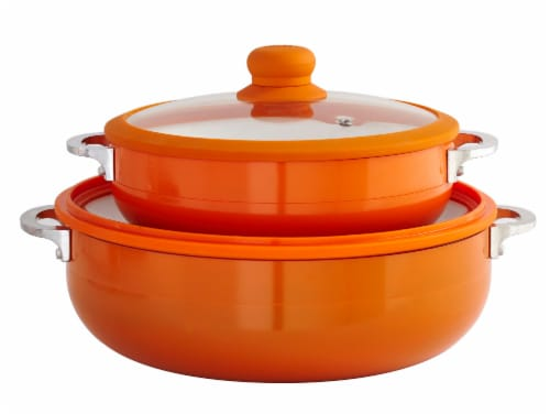 IMUSA Ceramic Nonstick Caldero Set with Glass Lids - Orange Perspective: back