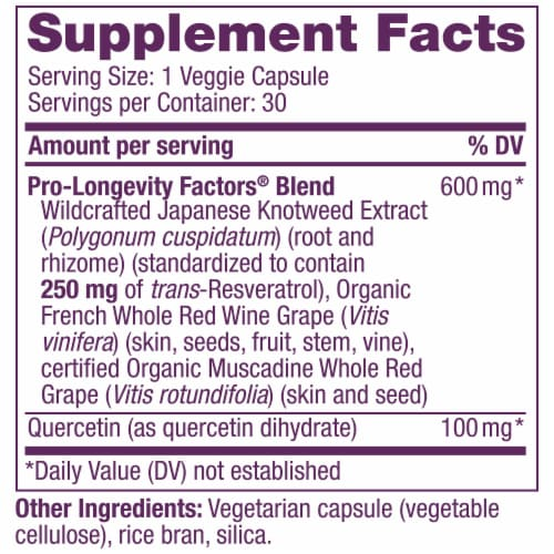 Reserveage Nutrition Resveratrol Veggie Capsules 250mg Perspective: back