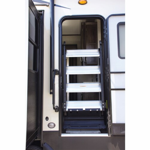 MORryde StepAbove 37.5 to 42 In 4 Step Portable RV Camper Stairs w/ Strut Assist Perspective: back
