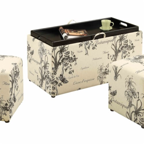 Sheridan Storage Bench with Ottomans in Multi-Color Botanical Fabric Perspective: back