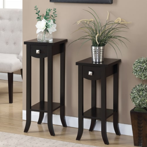 Convenience Concepts Newport Prism Medium Plant Stand in Espresso Wood Finish Perspective: back
