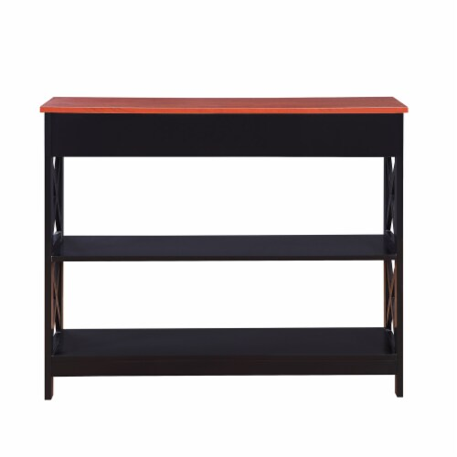 Convenience Concepts Oxford One-Drawer Console Table in Cherry and Black Wood Perspective: back