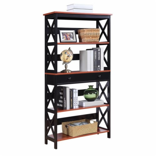 Oxford 5 Tier Bookcase with Drawer Perspective: back