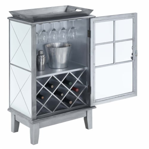 Convenience Concepts Gold Coast Mirrored Bar Cabinet in Antique Silver Metal Perspective: back