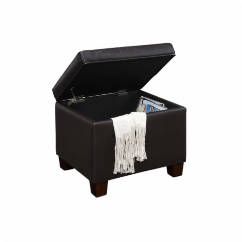 Convenience Concepts Madison Storage Ottoman in Espresso Faux Leather Fabric Perspective: back