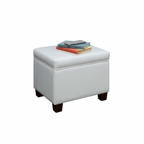 Madison Storage Ottoman , White Perspective: back