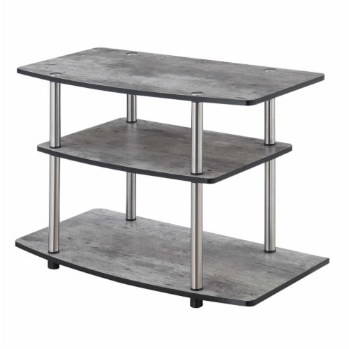 Convenience Concepts Designs2Go Three-Tier 32  TV Stand in Gray Wood Finish Perspective: back