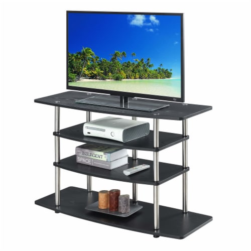 Convenience Concepts Designs2Go No-Tools Wide Highboy 32  TV Stand in Black Wood Perspective: back