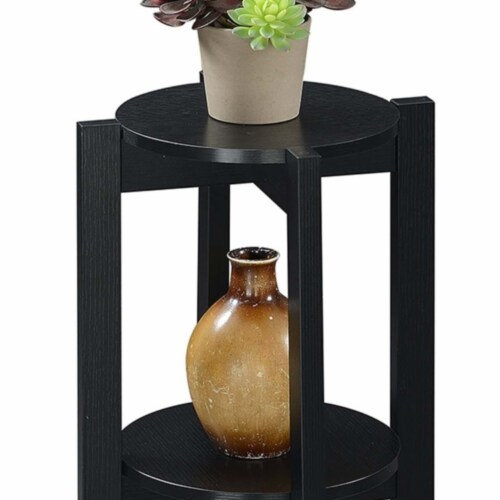 Convenience Concepts Newport Medium Plant Stand in Black Wood Finish Perspective: back