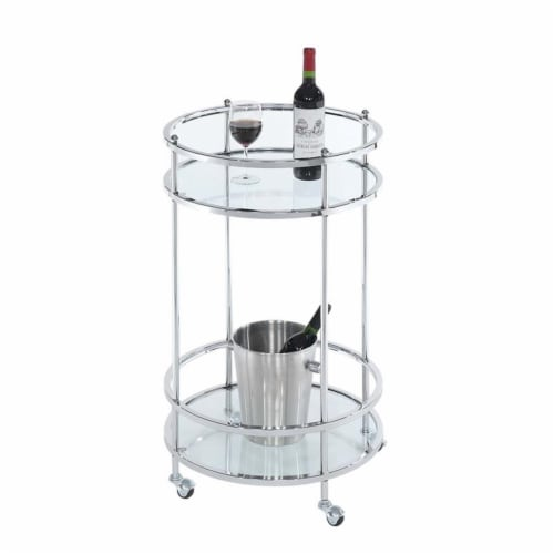 Royal Crest Bar Cart With Wheels in Clear Glass and Chrome Metal Frame Perspective: back