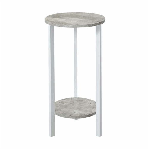 Convenience Concepts Graystone 31  Plant Stand in Gray Faux Marble Wood Finish Perspective: back
