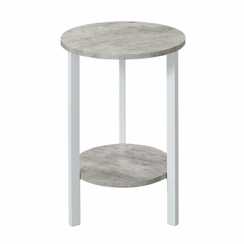 Convenience Concepts Graystone 24  Plant Stand in Gray Faux Marble Wood Finish Perspective: back