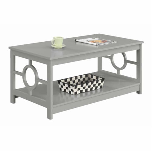 Convenience Concepts Ring Coffee Table in Gray Wood Finish with Lower Shelf Perspective: back