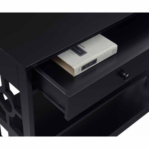 Convenience Concepts Ring 1 Drawer Console Table in Black Wood Finish Perspective: back