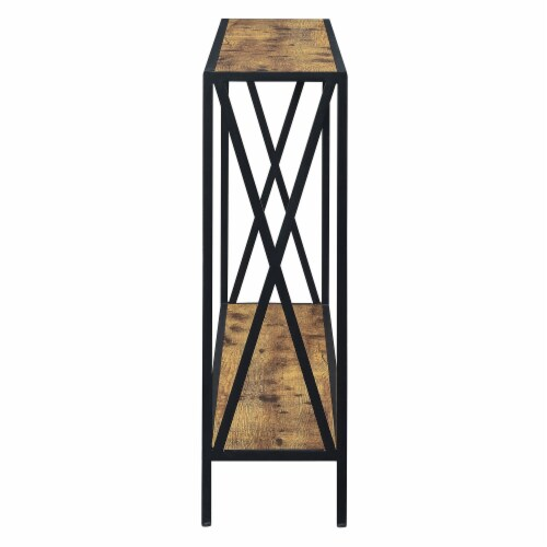 Convenience Concepts Tucson Black Metal Console Table in Multi-Color Wood Finish Perspective: back