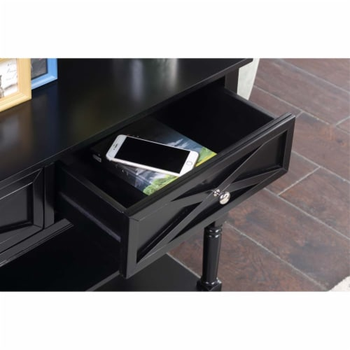 Convenience Concepts Country Oxford 2 Drawer Console Table in Black Wood Finish Perspective: back