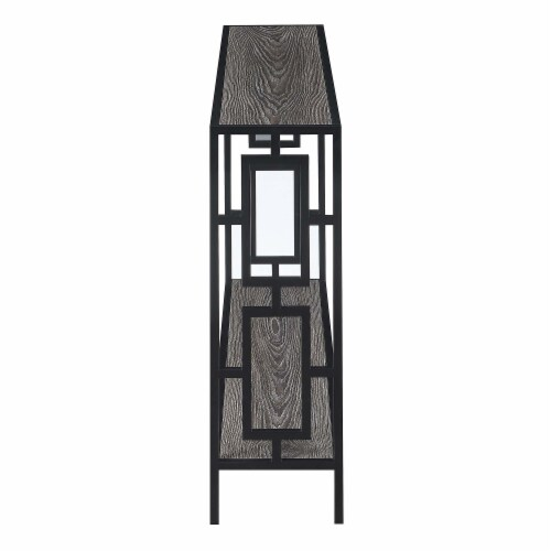 Town Square Black Metal Frame Console Table in Weathered Gray Wood Perspective: back
