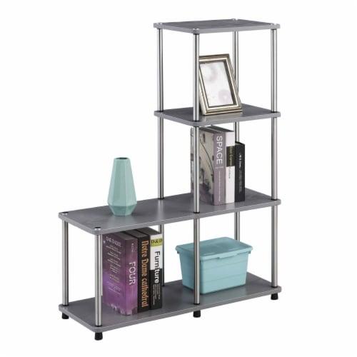Convenience Concepts Designs2Go Multi Shelf L Bookshelf in Gray Wood Finish Perspective: back