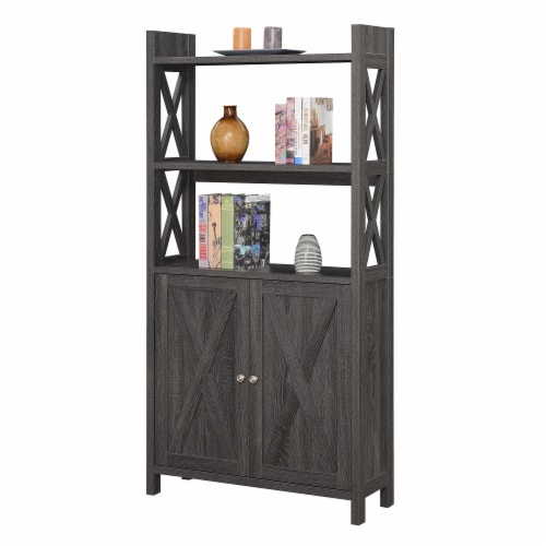 Convenience Concepts Oxford Bookcase with Cabinet in Weathered Gray Wood Finish Perspective: back