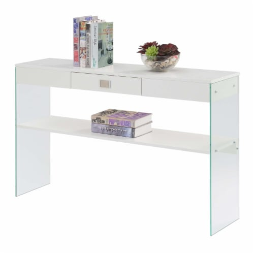 SoHo One-Drawer Console Table in Clear Glass with White Wood Top Perspective: back