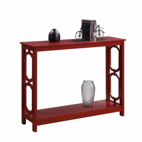 Convenience Concepts Omega Console Table in Cranberry Red Wood Finish Perspective: back