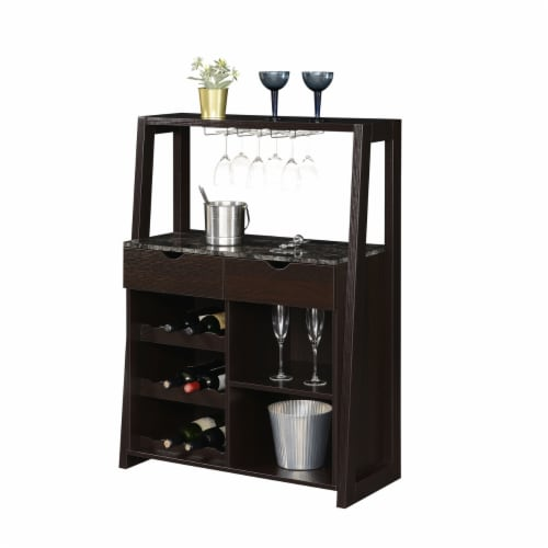 Convenience Concepts Uptown Wine Bar with Cabinet in Espresso Wood Finish Perspective: back