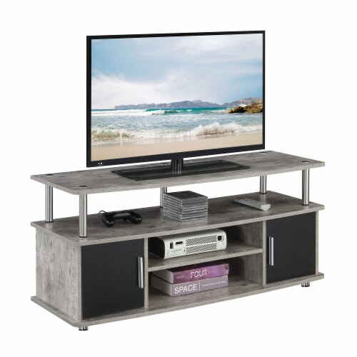 Convenience Concepts Designs2Go Monterey 47  TV Stand in Weathered Gray Wood Perspective: back