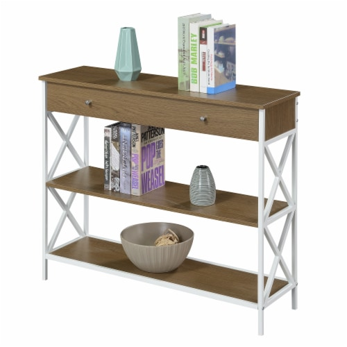 Tucson One-Drawer Console Table in Caramel Wood with White Metal Frame Perspective: back