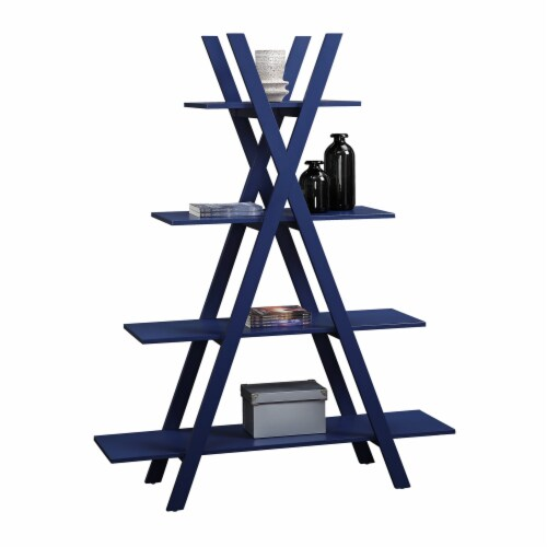 Convenience Concepts Oxford A-Frame Bookshelf in Cobalt Blue Wood Finish Perspective: back