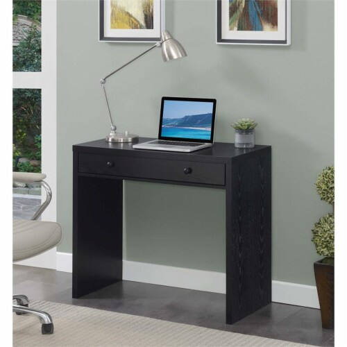 Convenience Concepts Northfield 36-inch Desk with Drawer in Black Wood Finish Perspective: back