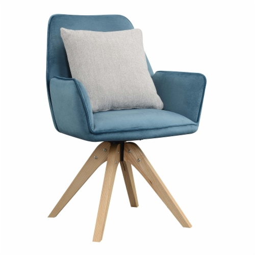 Convenience Concepts Miranda Swivel Accent Chair in Blue Velvet/Natural Wood Perspective: back
