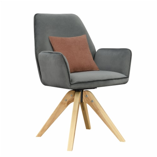Convenience Concepts Miranda Swivel Accent Chair in Gray Velvet/Natural Wood Perspective: back