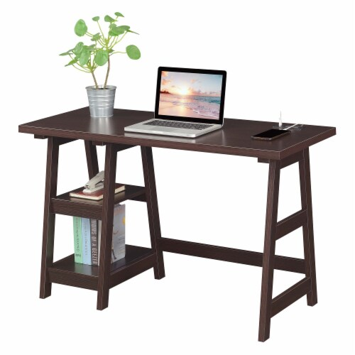 Designs2Go Trestle Desk with Charging Station in Espresso Wood Finish Perspective: back