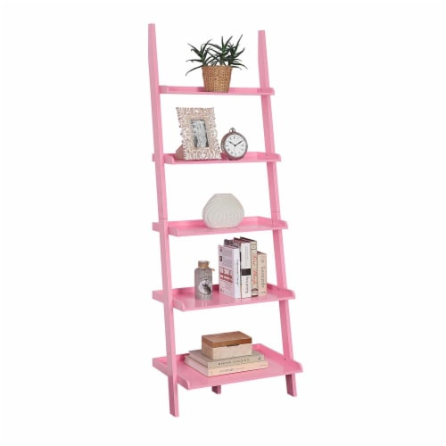 American Heritage Bookshelf Ladder with Five Tiers in Bright Pink Wood Finish Perspective: back