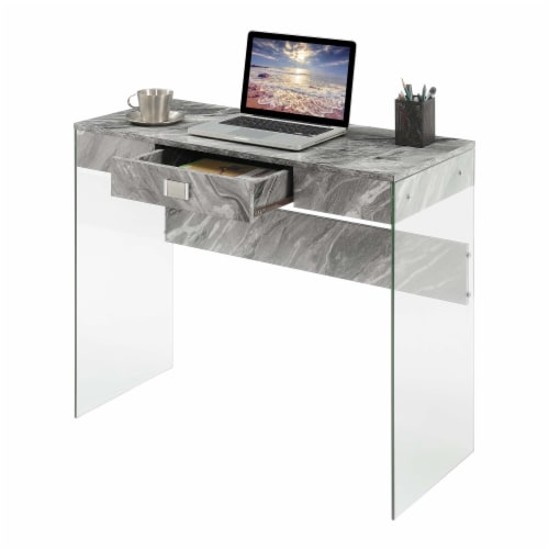 Convenience Concepts Soho 36-inch Glass Desk in Gray Faux Marble Wood Finish Perspective: back
