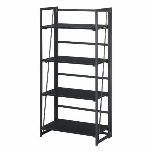 Convenience Concepts Xtra Folding Four-Tier Bookshelf in Black Wood Finish Perspective: back